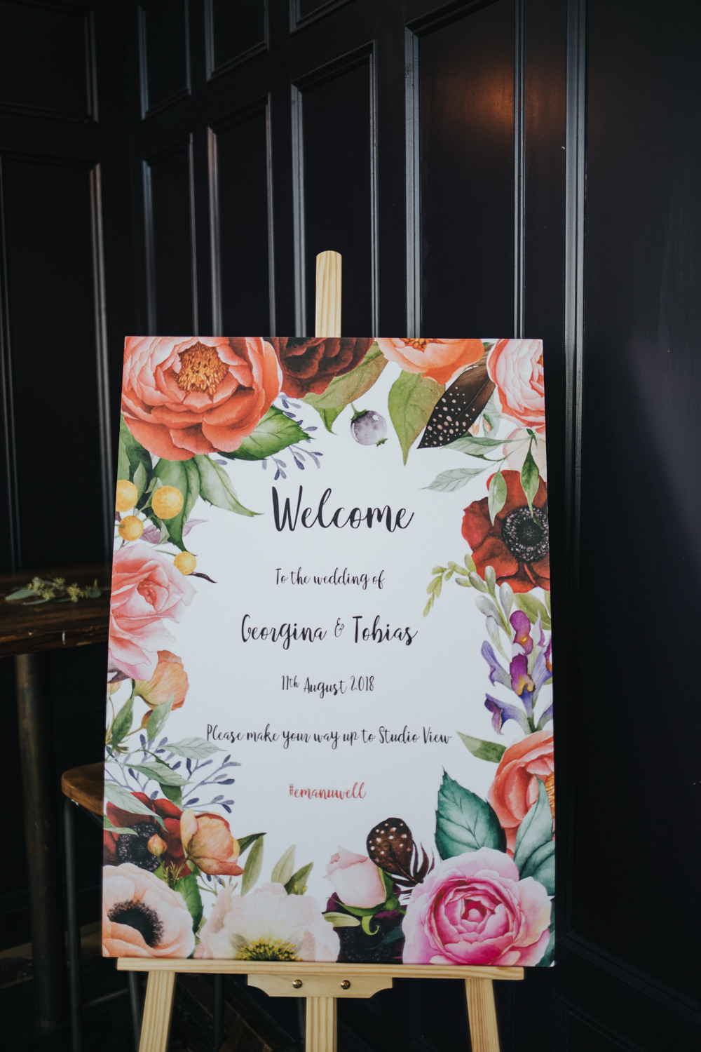 Floral Sign Signage Welcome Calligraphy Easel Wimborne House Wedding Eva Photography