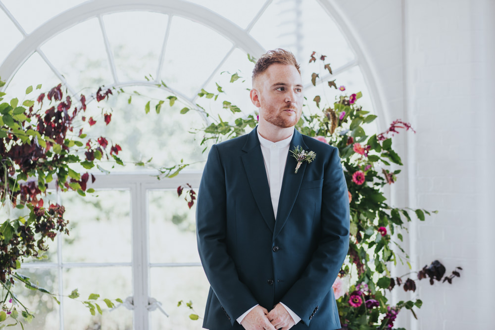 Groom Suit Green Floral Trainers Grandad Collar Shirt Wimborne House Wedding Eva Photography