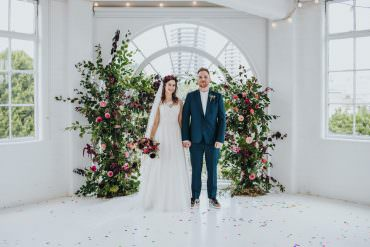 Ceremony Aisle Backdrop Arch Flower Floral Installation Wild Natural Pretty Greenery Foliage Pink Wimborne House Wedding Eva Photography