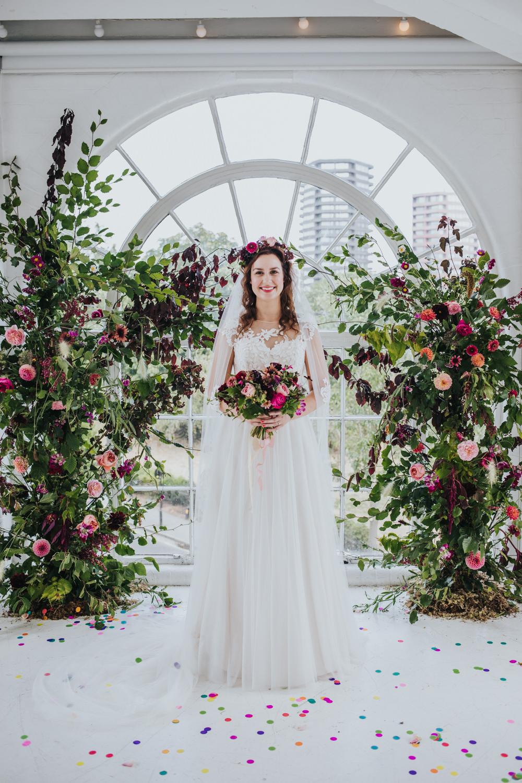 Bride Bridal Dress Gown Veil Flower Crown Illusion Lace Tulle Wimborne House Wedding Eva Photography