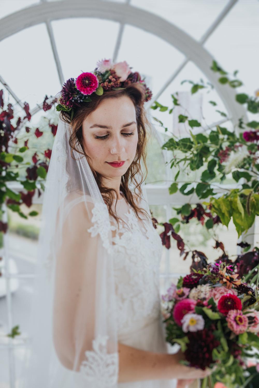 Bride Bridal Make Up Flower Crown Headband Hair Veil Wimborne House Wedding Eva Photography