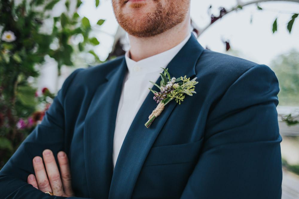 Groom Buttonhole Flowers Herbs Twine Wimborne House Wedding Eva Photography