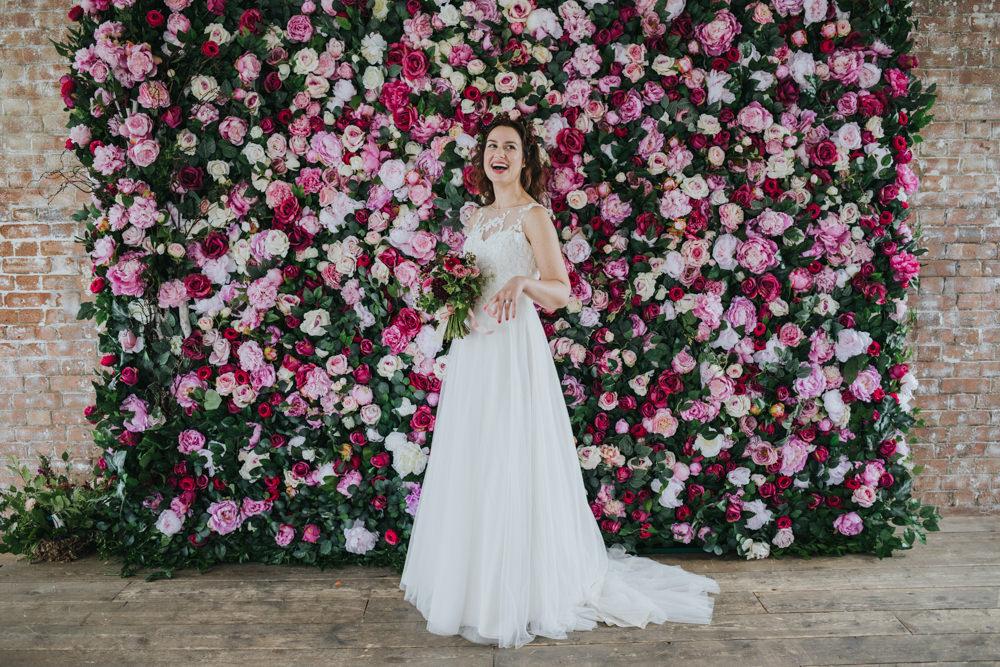 Pink Flower Wall Backdrop Wimborne House Wedding Eva Photography