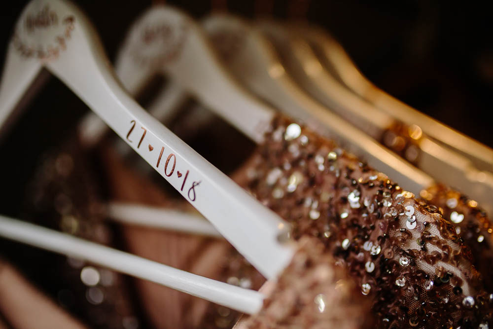 Bespoke Bridesmaids Hangers Date Yorkshire Wedding Barn Anna Rose Photography