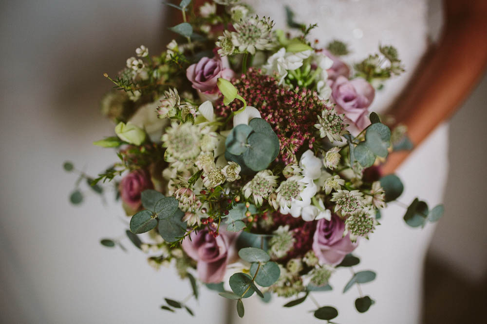 Bride Bridal Bouquet Eucalyptus Floral Flowers Yorkshire Wedding Barn Anna Rose Photography