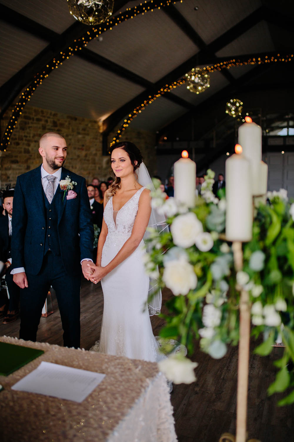 Bride Bridal Sleeveless V Neck Embellished Dress Gown Fitted Blue Tweed Groom Suit Veil Yorkshire Wedding Barn Anna Rose Photography
