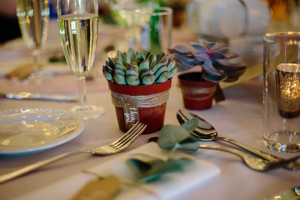Succulent Table Centre Yorkshire Wedding Barn Anna Rose Photography