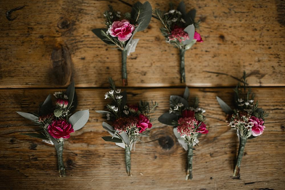 Buttonhole Flowers Red Burgundy Abbeydale Picture House Wedding We Are Da Silva