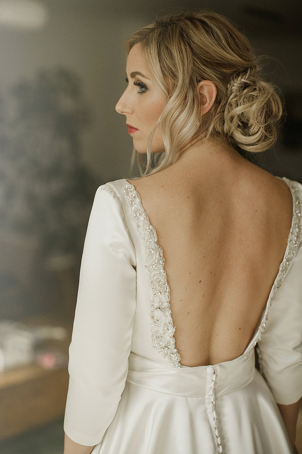 Bride Bridal Dress Gown Pockets Train Belt Low Back Sleeves Modern Chic Abbeydale Picture House Wedding We Are Da Silva