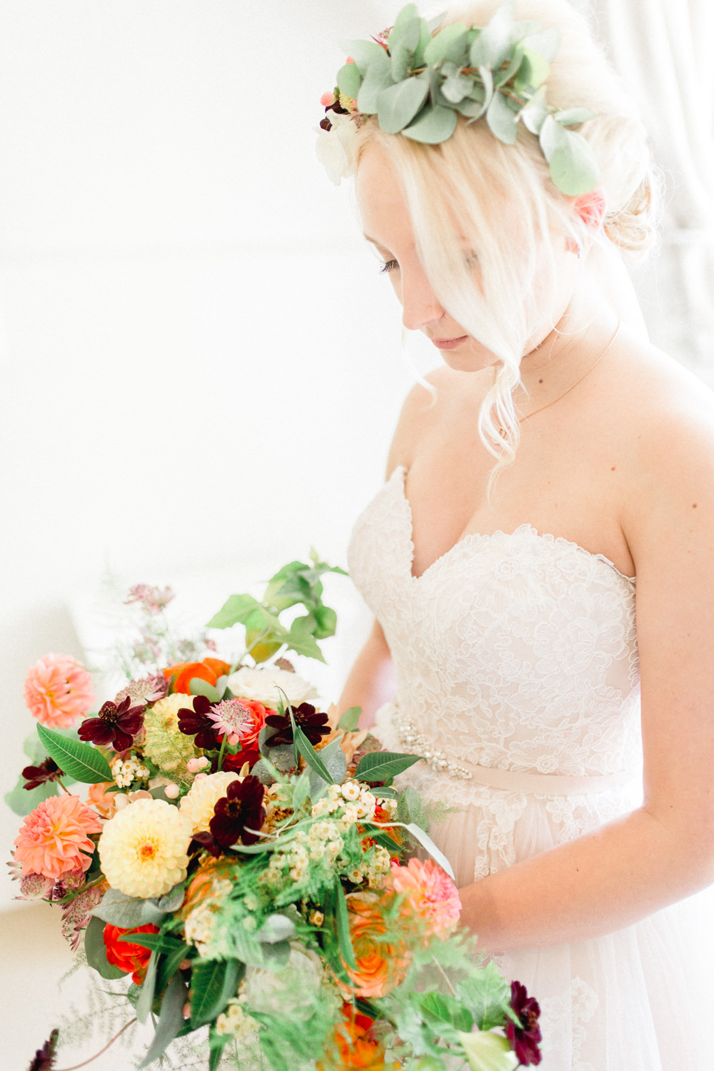 Bride Bridal Flower Crown Greenery Bouquet Flowers Bride Bridal Red Orange Dahlia Rose Fern Yellow Autumnal Boho Wedding Ivory White Photography