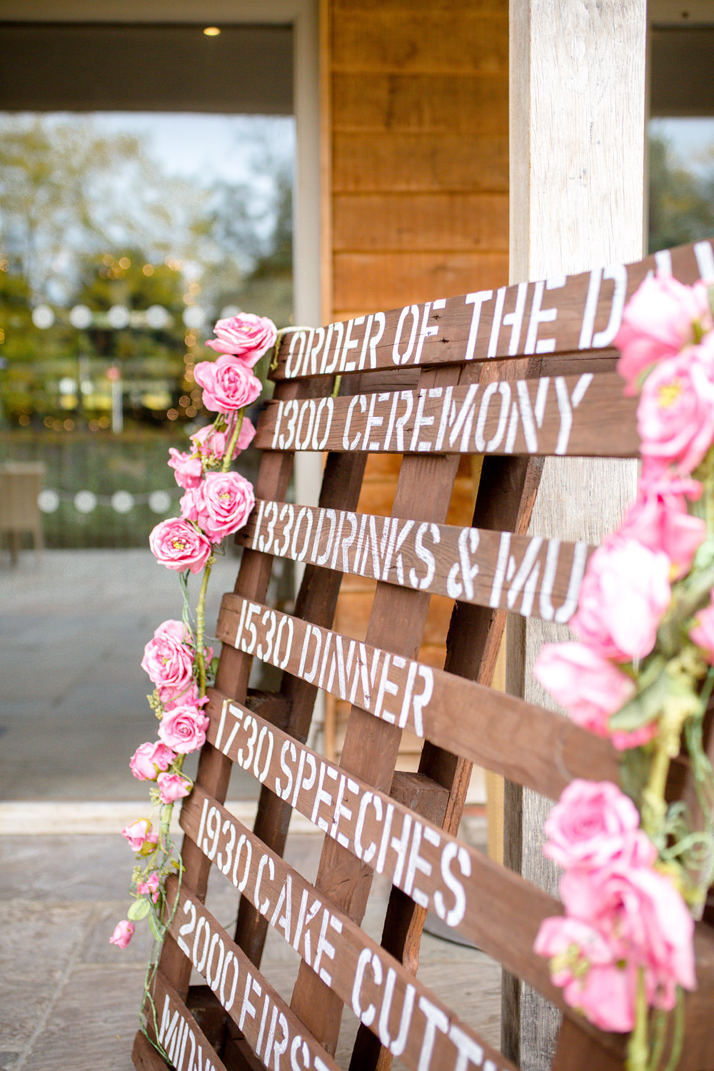 Wooden Pallet Sign Floral Flowers Autumnal Boho Wedding Ivory White Photography