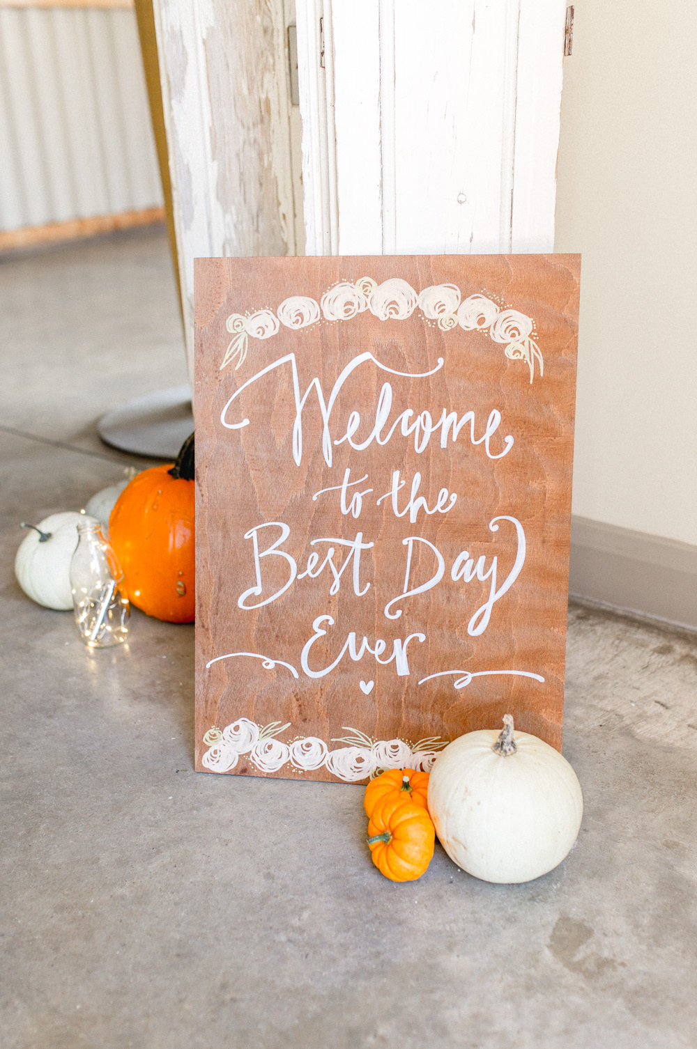 Floral Wooden Sign Signs Signage Calligraphy Pumpkins Autumnal Boho Wedding Ivory White Photography