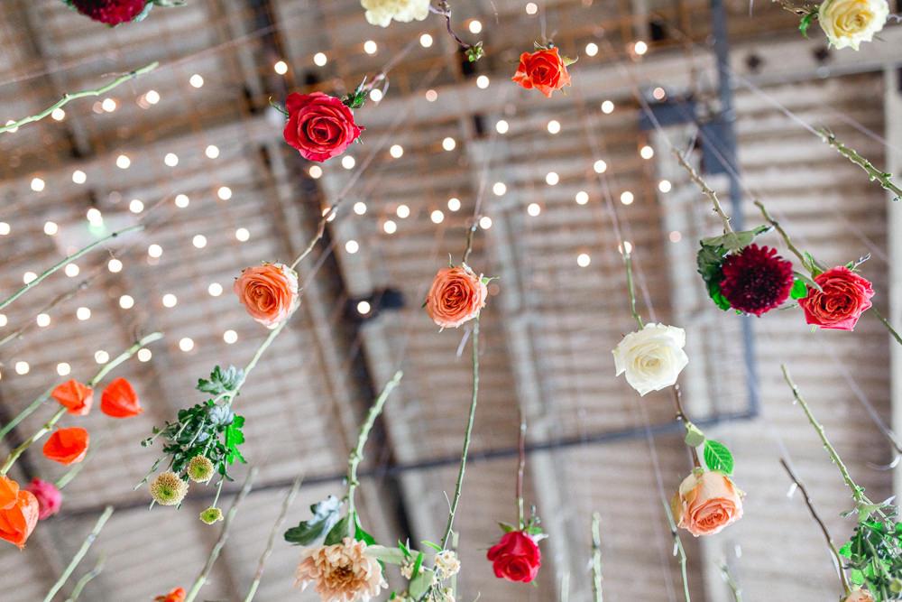 Hanging Flowers Ceiling Suspended Installation Decor Barn Autumnal Boho Wedding Ivory White Photography
