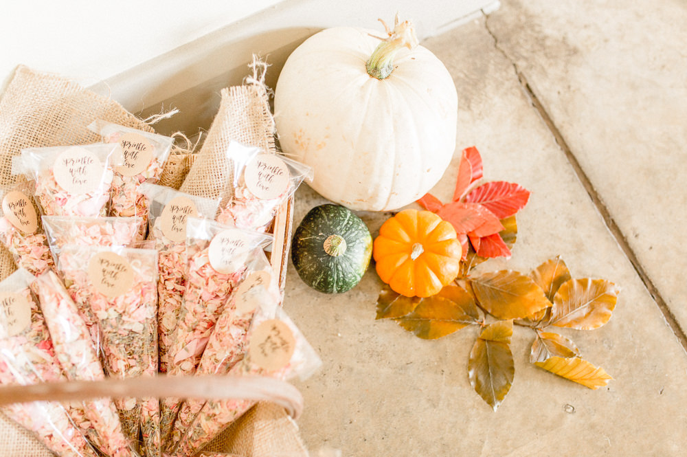 Pumpkins Leaves Decor Confetti Cones Autumnal Boho Wedding Ivory White Photography