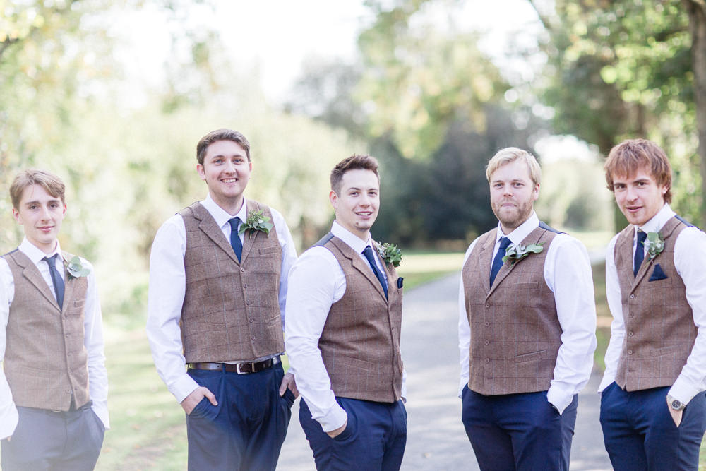 Groom Groomsmen Suits Attire Outfits Waistcoats Chinos Autumnal Boho Wedding Ivory White Photography