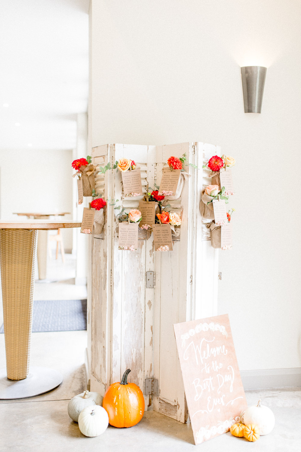 Room Divider Shutters Seating Plan Table Chart Flowers Floral Autumnal Boho Wedding Ivory White Photography
