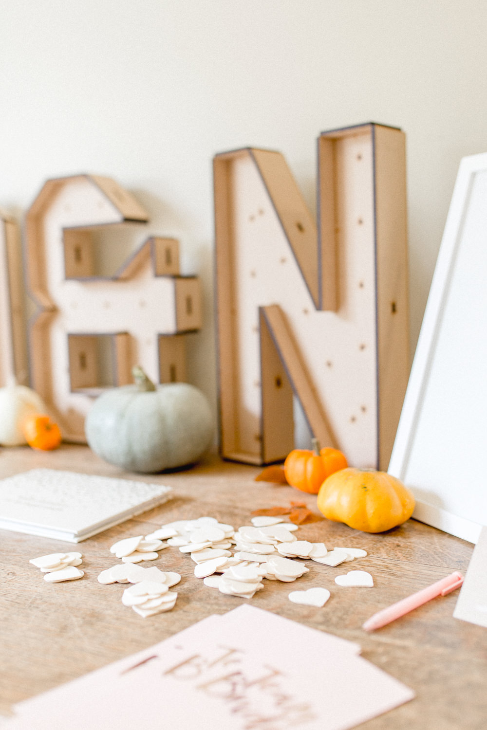 Heart Table Confetti Pumpkins Autumnal Boho Wedding Ivory White Photography