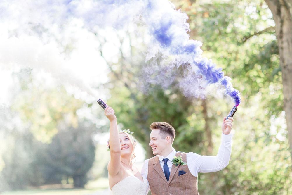 Smoke Bomb Photo Portraits Autumnal Boho Wedding Ivory White Photography