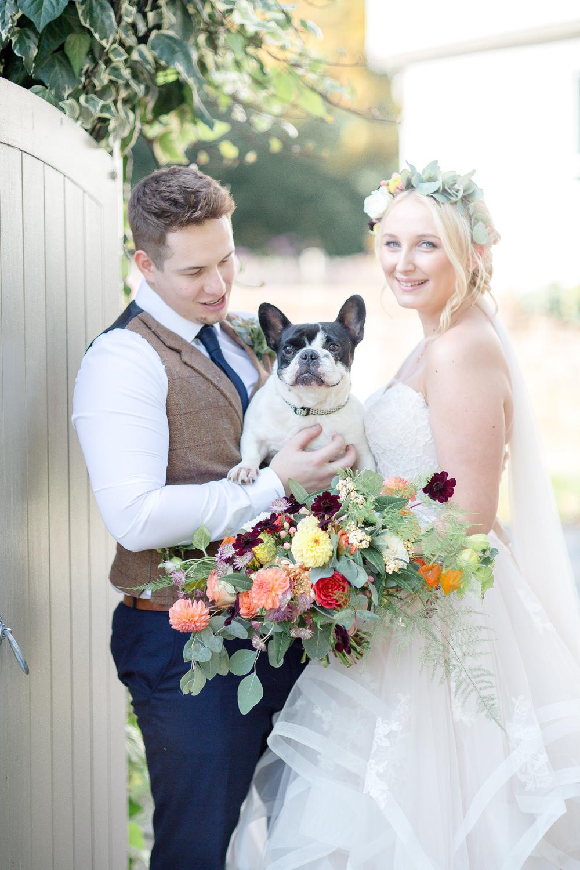 Pet Dog Autumnal Boho Wedding Ivory White Photography