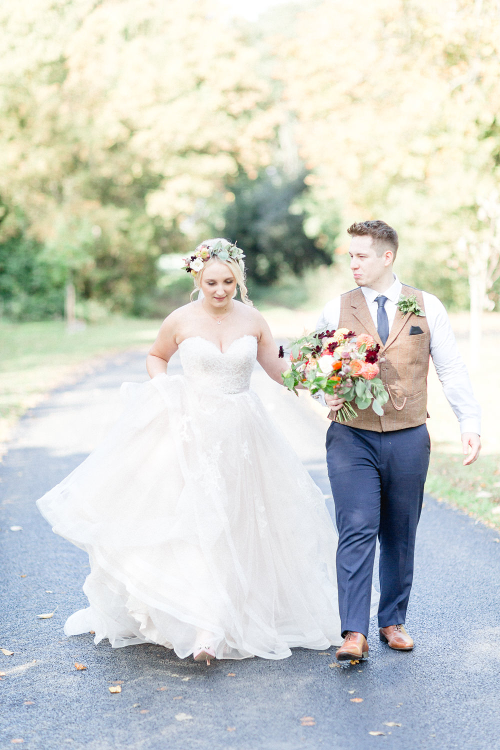 Groom Groomsmen Suits Attire Outfits Waistcoats Chinos Dress Gown Bride Bridal Lace Strapless Sweetheart Stella York Princess Ruffle Skirt Autumnal Boho Wedding Ivory White Photography