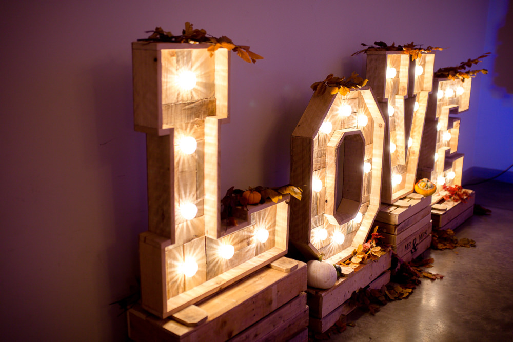 LOVE Letter Lights Lighting Autumnal Boho Wedding Ivory White Photography