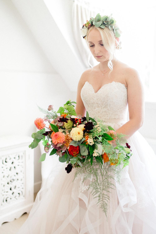 Bouquet Flowers Bride Bridal Red Orange Dahlia Rose Fern Yellow Autumnal Boho Wedding Ivory White Photography