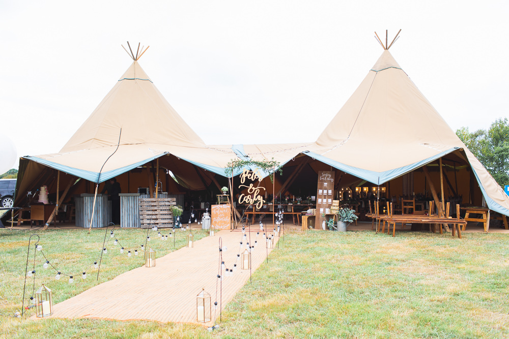 Festoon Lighting Bedfordshire Tipi Wedding Natalie Stevenson Photography