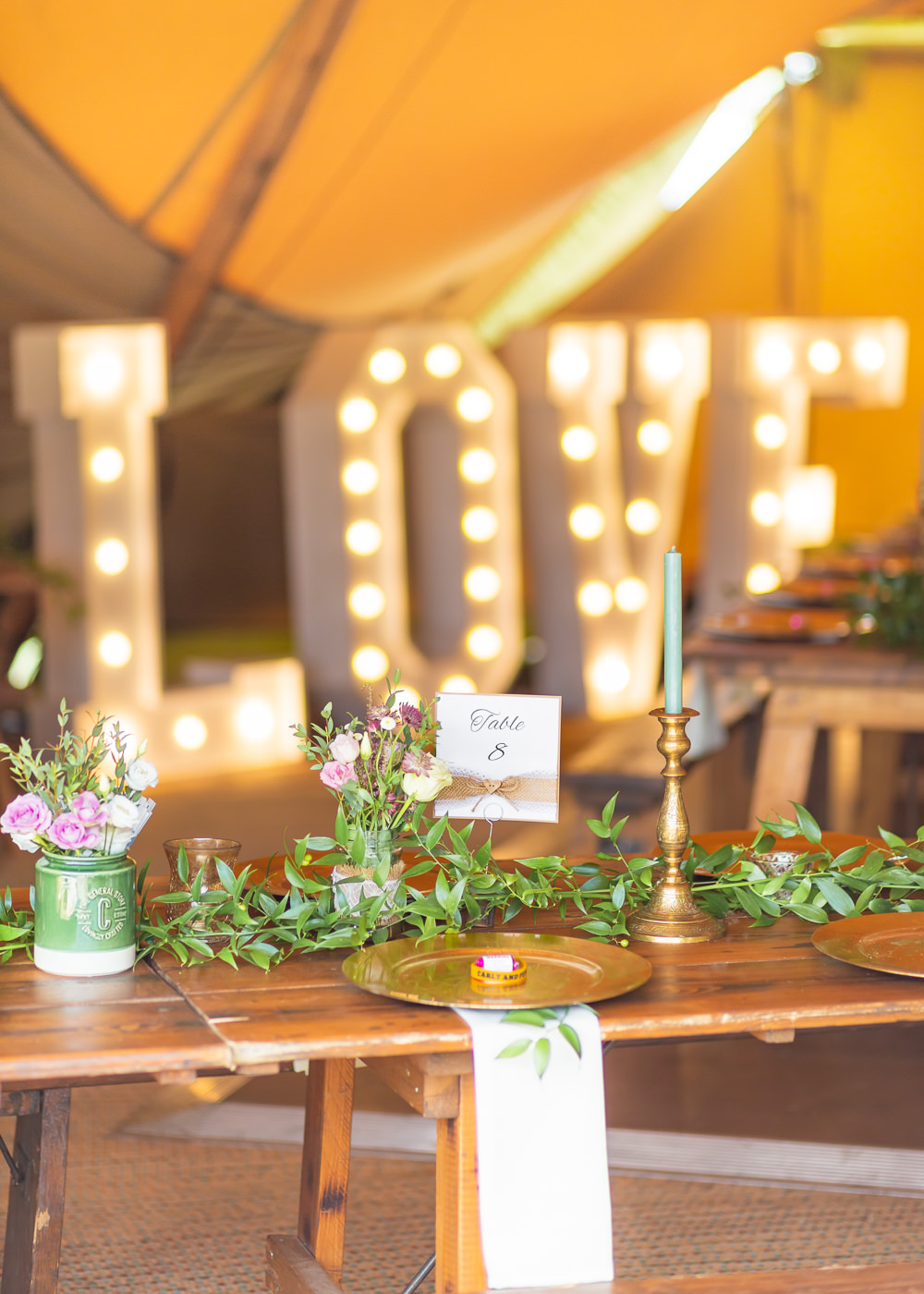 Greenery Foliage Garden Pink Flowers Love Light Letters Bedfordshire Tipi Wedding Natalie Stevenson Photography