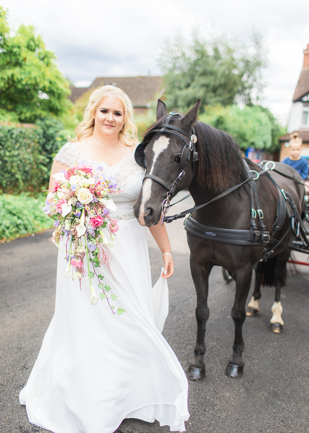 Bride Bridal Short Sleeve Lace V Neck Dress Gown Horse Carriage Cascade Waterfall Bouquet Bedfordshire Tipi Wedding Natalie Stevenson Photography