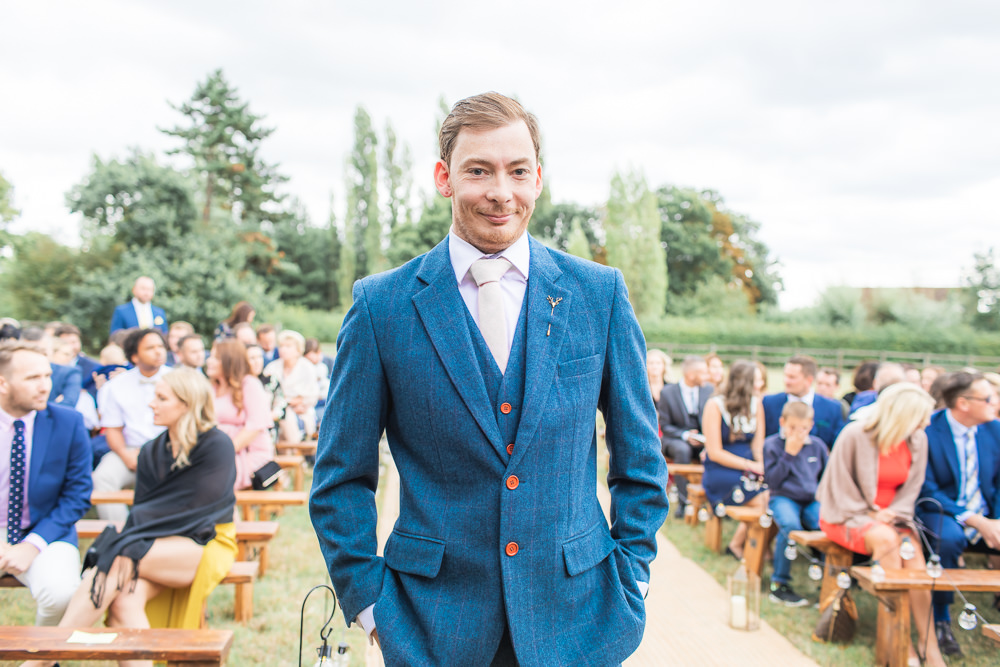 Blue Wool Tweed Suit Waistcoat Three Piece Groom Bedfordshire Tipi Wedding Natalie Stevenson Photography