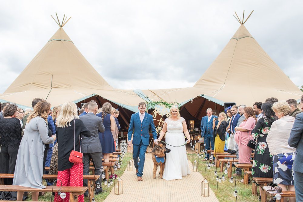 Bride Bridal Short Sleeve Lace V Neck Dress Gown Navy Tweed Suit Groom Dog Bedfordshire Tipi Wedding Natalie Stevenson Photography