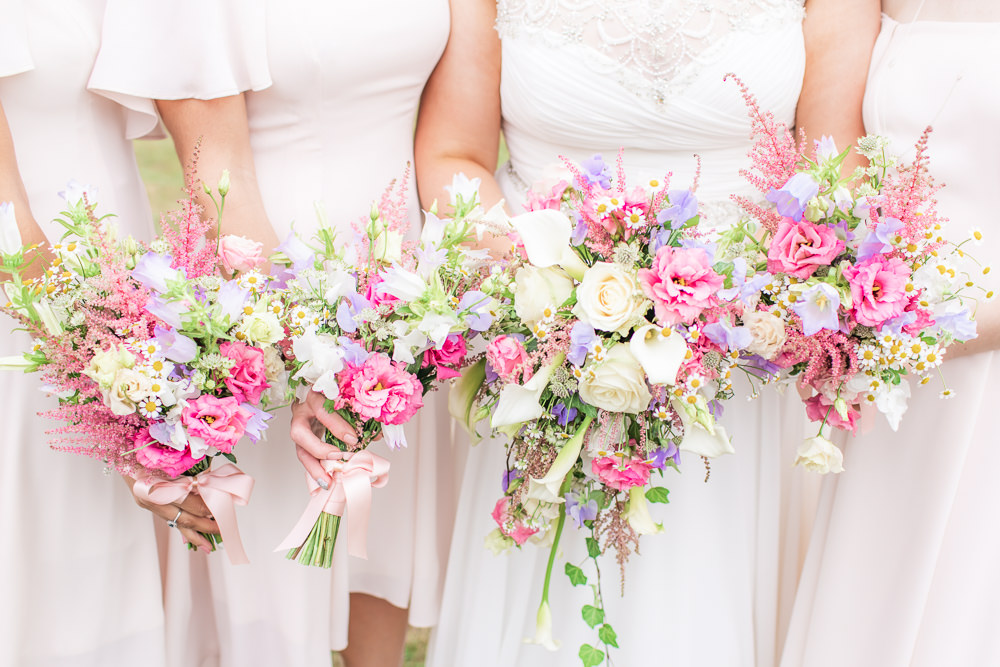 Bride Bridal Bridesmaid Bouquet Pink Flowers Floral Waterfall Bedfordshire Tipi Wedding Natalie Stevenson Photography