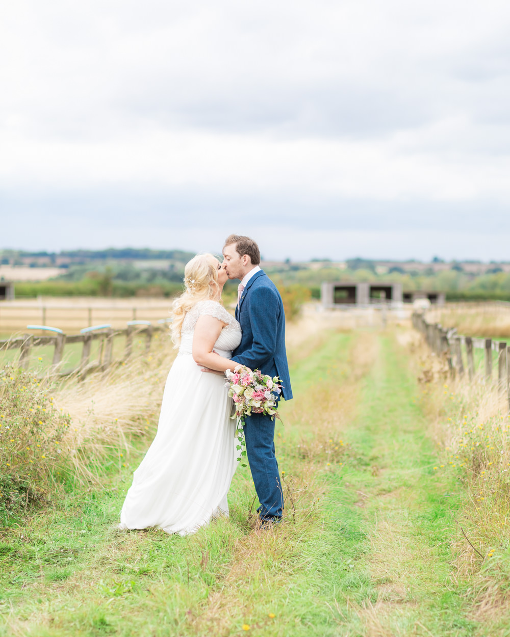 Bride Bridal Short Sleeve Lace Dress Gown Navy Suit Groom Bedfordshire Tipi Wedding Natalie Stevenson Photography