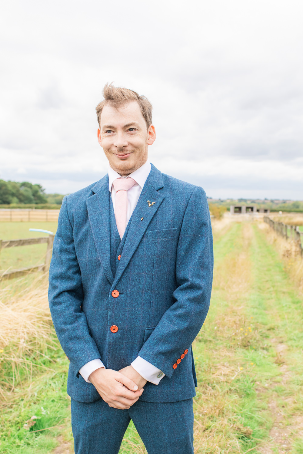 Tweed Wool Navy Blue Suit Groom Three Piece Waistcoat Bedfordshire Tipi Wedding Natalie Stevenson Photography