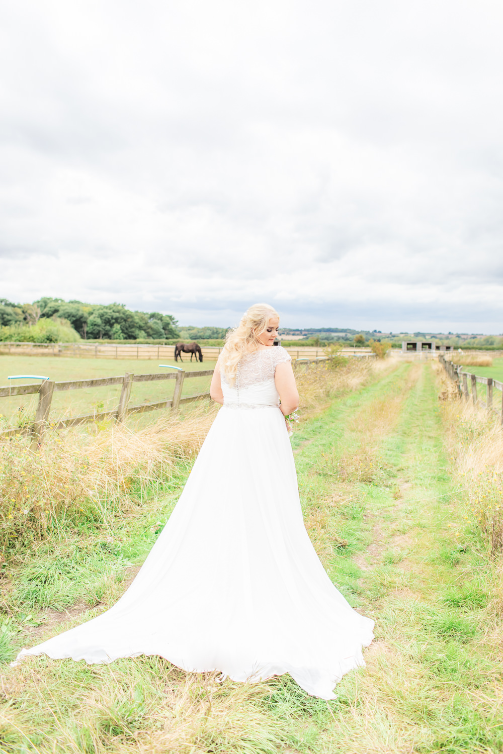 Bride Bridal Short Sleeve Lace V Neck Dress Gown Bedfordshire Tipi Wedding Natalie Stevenson Photography