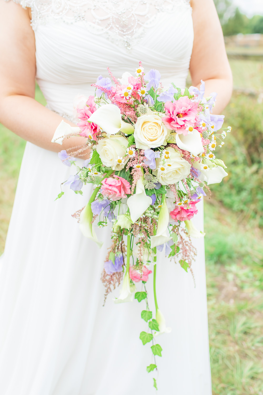 Bride Bridal Bouquet Daisy Cascading Waterfall Rose Bedfordshire Tipi Wedding Natalie Stevenson Photography