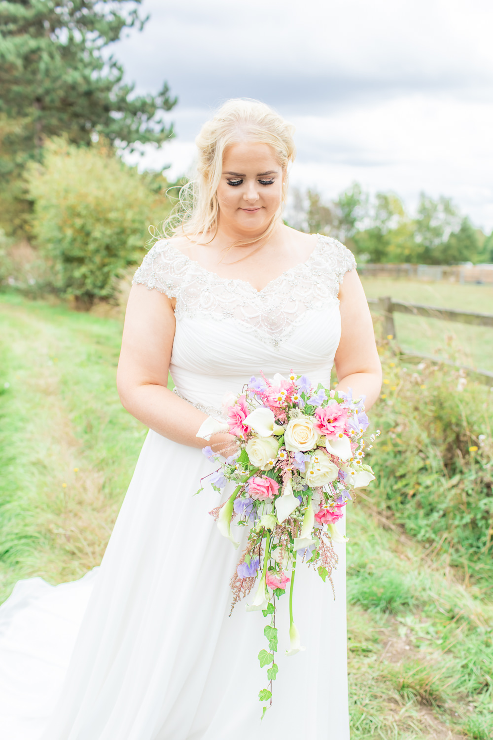Bride Bridal Short Sleeve Lace V Neck Dress Gown Cascading Bouquet Waterfall Bedfordshire Tipi Wedding Natalie Stevenson Photography