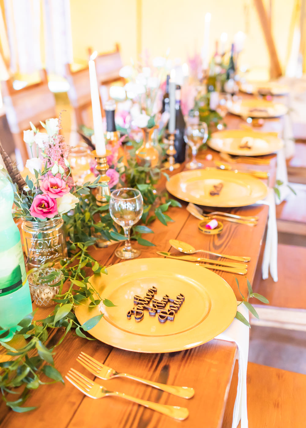 Gold Charger Plate Laser Cut Place Name Flowers Floral Greenery Bedfordshire Tipi Wedding Natalie Stevenson Photography