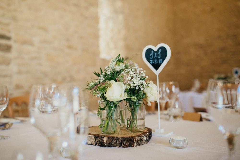 Table Centrepiece Decor Flowers Log Slice Jar Bohemian Carefree Countryside Wedding Lush Imaging by Naomi
