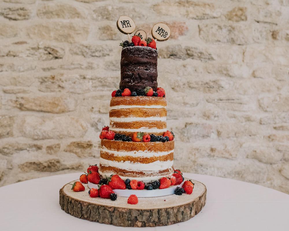 Naked Cake Layer Sponge Fruit Berries Log Slice Topper Bohemian Carefree Countryside Wedding Lush Imaging by Naomi