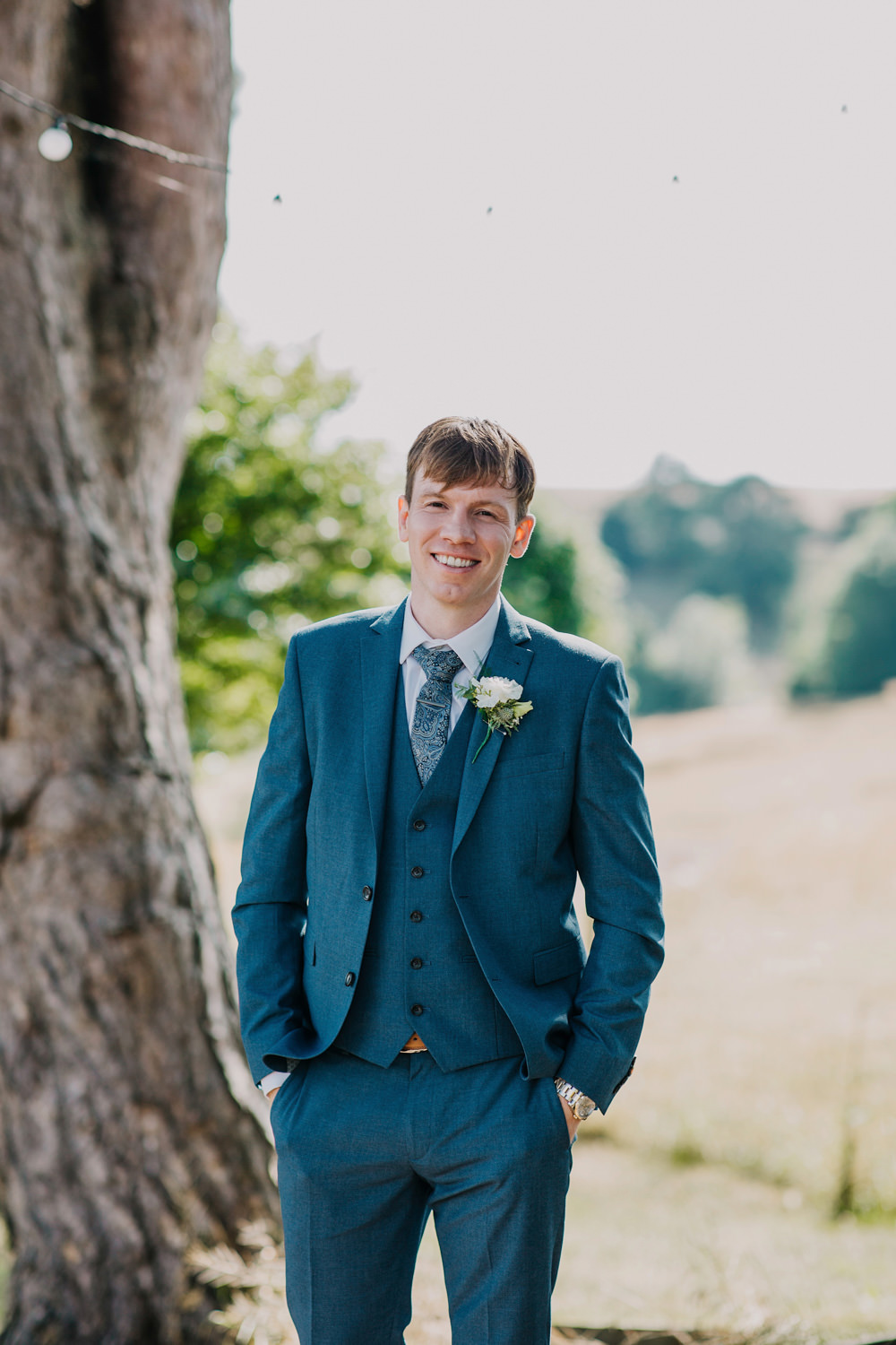 Groom Suit Blue Bohemian Carefree Countryside Wedding Lush Imaging by Naomi