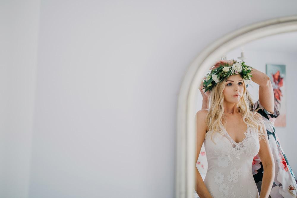 Bride Bridal Flower Crown Greenery Foliage Bohemian Carefree Countryside Wedding Lush Imaging by Naomi