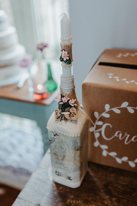 Candle Bottle Decor Chilli Barn Wedding Stevie Jay Photography