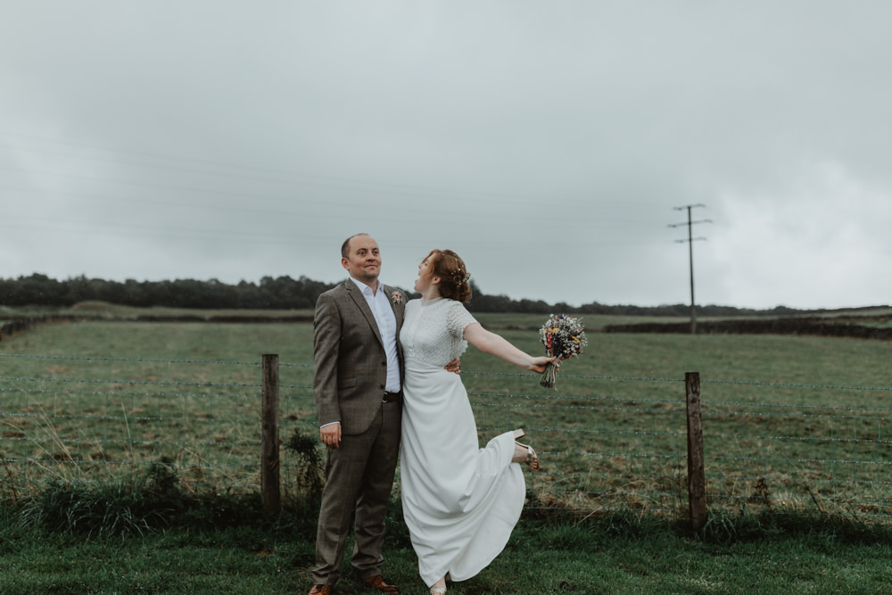 Bride Bridal Dress Gown Lace Sleeves Whistles High Neckline Chilli Barn Wedding Stevie Jay Photography