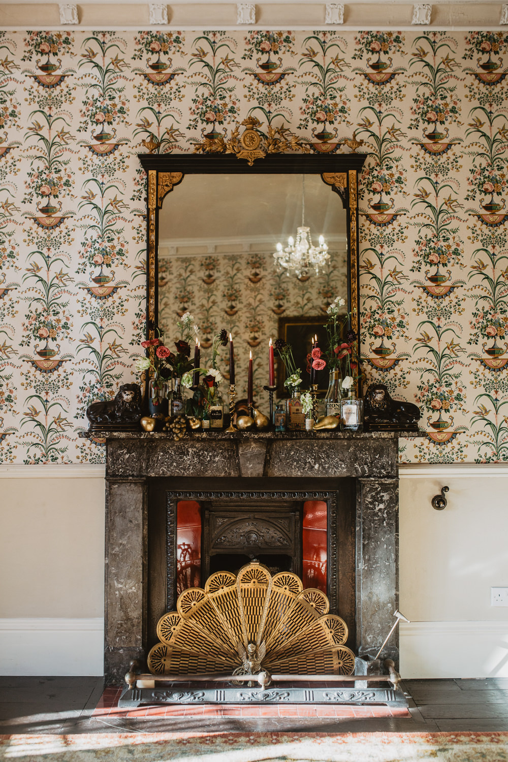Fireplace Mantle Piece Flowers Bottles Candles Decor Edwardian Wedding Ideas Camilla Andrea Photography