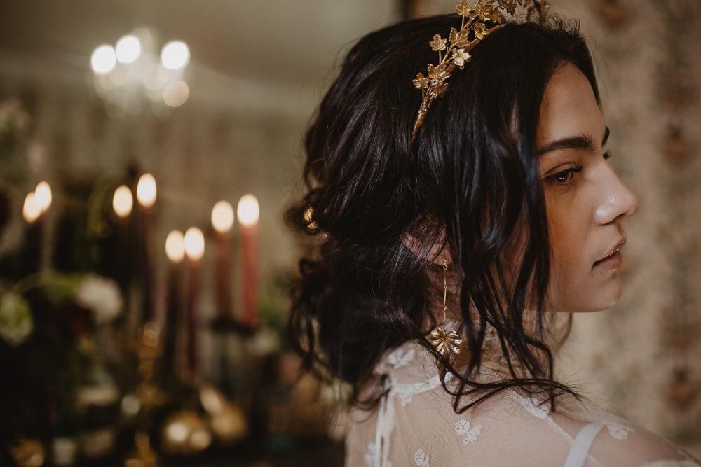 Hair Piece Accessory Bride Bridal Tiara Crown Gold Leaf Edwardian Wedding Ideas Camilla Andrea Photography