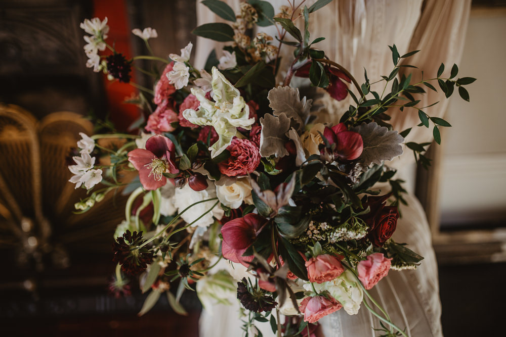 Bouquet Flowers Bride Bridal Hellebores Ranunculus Tulips Roses Edwardian Wedding Ideas Camilla Andrea Photography