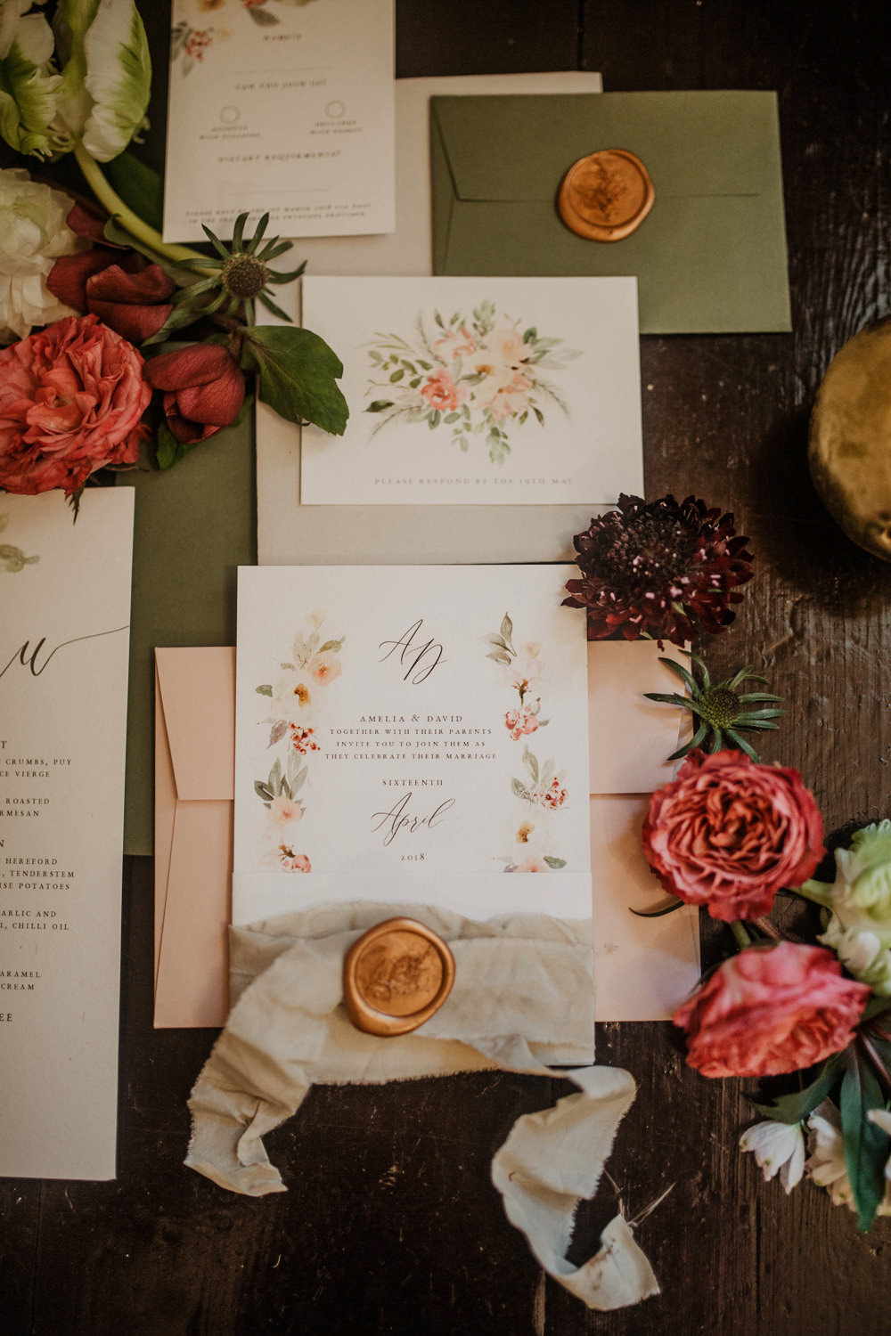 Stationery Invitations Invites Floral Flowers Wax Seal Calligraphy Edwardian Wedding Ideas Camilla Andrea Photography