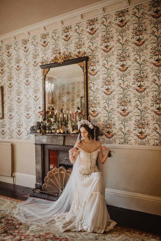 Veil Dress Gown Bride Bridal Straps Vintage Edwardian Wedding Ideas Camilla Andrea Photography