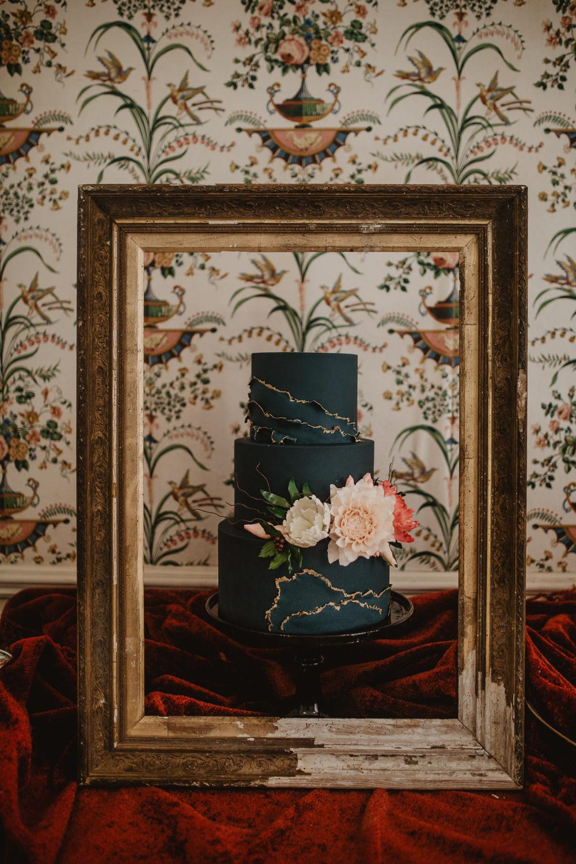 Cake Black Sugar Flowers Black Gold Frame Edwardian Wedding Ideas Camilla Andrea Photography